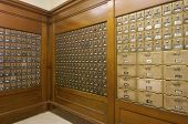 foto of old post office  - Mailboxes lined up in a post office - JPG