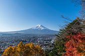 picture of mount fuji  - Mount Fuji with blue sky from Lake Kawaguchi Japan - JPG