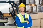 image of warehouse  - Worker wearing hard hat in warehouse in the warehouse - JPG