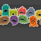 foto of microbes  - Seamless pattern with little angry viruses - JPG