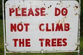 Sign--Please Do Not Climb The Trees