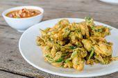 image of glory  - Spicy Deep Fried Morning Glory Salad on wood table - JPG
