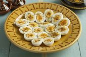 foto of cumin  -  Moroccan traditional boiled eggs with salt and cumin for iftar in ramadan time - JPG