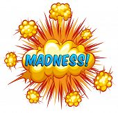 foto of slang  - Word madness with cloud explosion background - JPG
