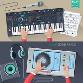 Постер, плакат: music illustration concept