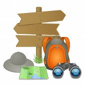 image of knapsack  - Vector Camping Accessories Concept isolated on white background - JPG