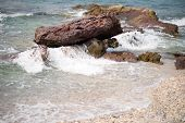 picture of sea-scape  - an image of stones and sea wave - JPG