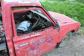 stock photo of forlorn  - Old Car for repairing stop  on the Country Road  - JPG