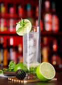 picture of mojito  - Decorated Mojito cocktail on a bar counter - JPG
