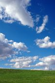 Bright Blue Sky with Clouds and Grass