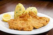 foto of mashed potatoes  - Vienna schnitzel with mash potatoes and lemon - JPG