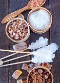 stock photo of sugar  - different kind of sugar sugar on the wooden table - JPG