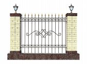 picture of stiletto  - Decorative forged fence with pillar in old stiletto - JPG