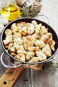 stock photo of roast chicken  - Roasted cauliflower with chicken in the frying pan - JPG
