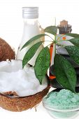 picture of massage oil  - Coconutsaltstones and massage oil for body close up - JPG