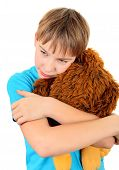 image of sissy  - Kid with Plush Toy on the White Background - JPG