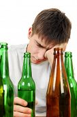 picture of addict  - Sad and Depressed Young Man with Alcohol addiction on the White Background  - JPG