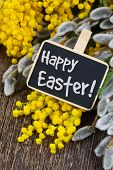 pic of mimosa  - French mimosa and catkins with happy easter note on wooden table - JPG