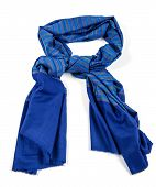 foto of indian blue  - Blue scarf of pashmina isolated on white - JPG