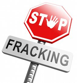 stock photo of shale  - stop fracking ban shale gas and hydraulic or hydrofracking - JPG