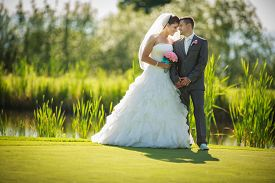 image of wedding  - Portrait of a young wedding couple on their wedding day - JPG