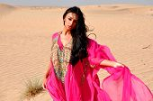 Beautiful Sexy Lady In Oriental Pink Dress