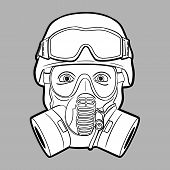 stock photo of gas mask  - Soldier wearing goggles and gas mask - JPG