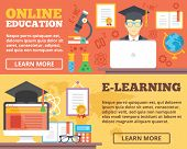 Постер, плакат: Online education e learning flat illustration concepts set