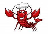foto of chef cap  - Happy cartoon red lobster chef mascot character with white uniform toque cap - JPG