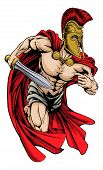 pic of spartan  - An illustration of a warrior character or sports mascot in a trojan or Spartan style helmet holding a sword - JPG