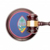 picture of guam  - Wooden judge gavel with national flag on sound block series  - JPG