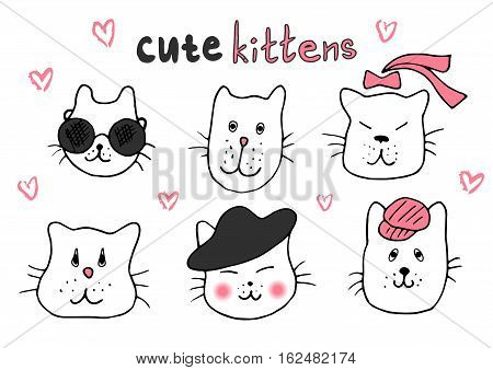 poster of Cute cat doodle series cat avatars Cats sketch line style icons. Pets character cats handmade to print cat T-shirts. Vector illustration cats