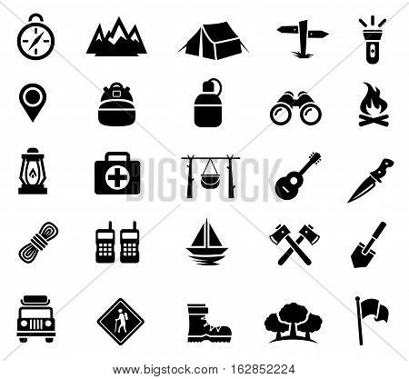 Vector Illustration Of Camping And Recreation Icons Best For Travel