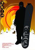 dark snowboarder - vector illustration