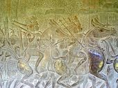 Khmer Warriors Sculpted On A Stone Wall, Angkor Vat, Angkor Temples, Cambodgia