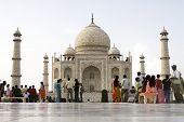 INDIA - JULY 28: Thousands of tourists visit daily the Taj Mahal mausoleum, the nation's largest, Ta