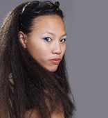 Exotic Asian beauty with long hair
