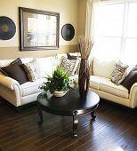 Dark hardwood flooring in new home