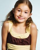 picture of pre-teen  - Portrait of a happy smiling pre teen girl - JPG