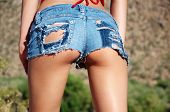 Ripped tiny denim booty shorts