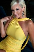 picture of body shape  - Beautiful blond woman wearing yellow dress - JPG