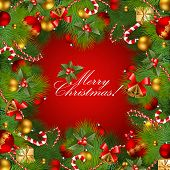 christmas background with baubles and christmas tree. Vector frame with green fir