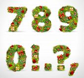 7890, vector christmas tree font