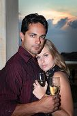 (shallow depth of field) Romantic celebration with champagne