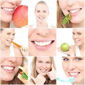 Постер, плакат: здоровые зубы и едят коллаж