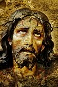 figure of Jesus Christ on vintage background
