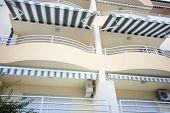 Tourist Terrace Balcony With Tarpaulin At Sunny Day