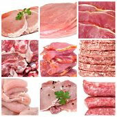 image of raw chicken sausage  - a collage of nine pictures of different meat products - JPG