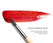 foto of bristle brush  - brash and red paint sketch - JPG