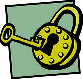 antique padlock and key